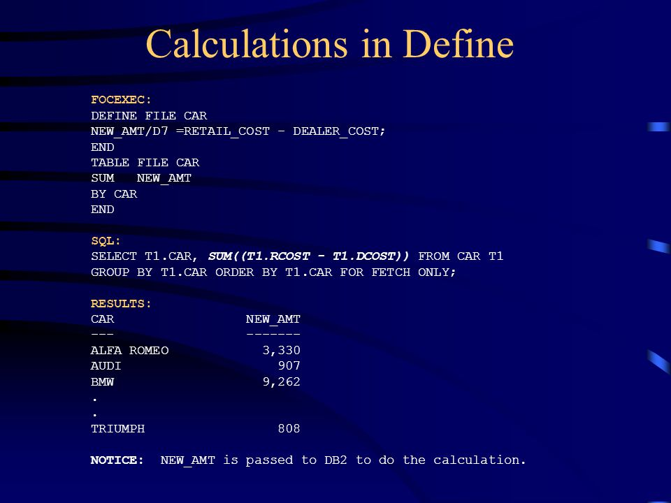 Calculations in Define