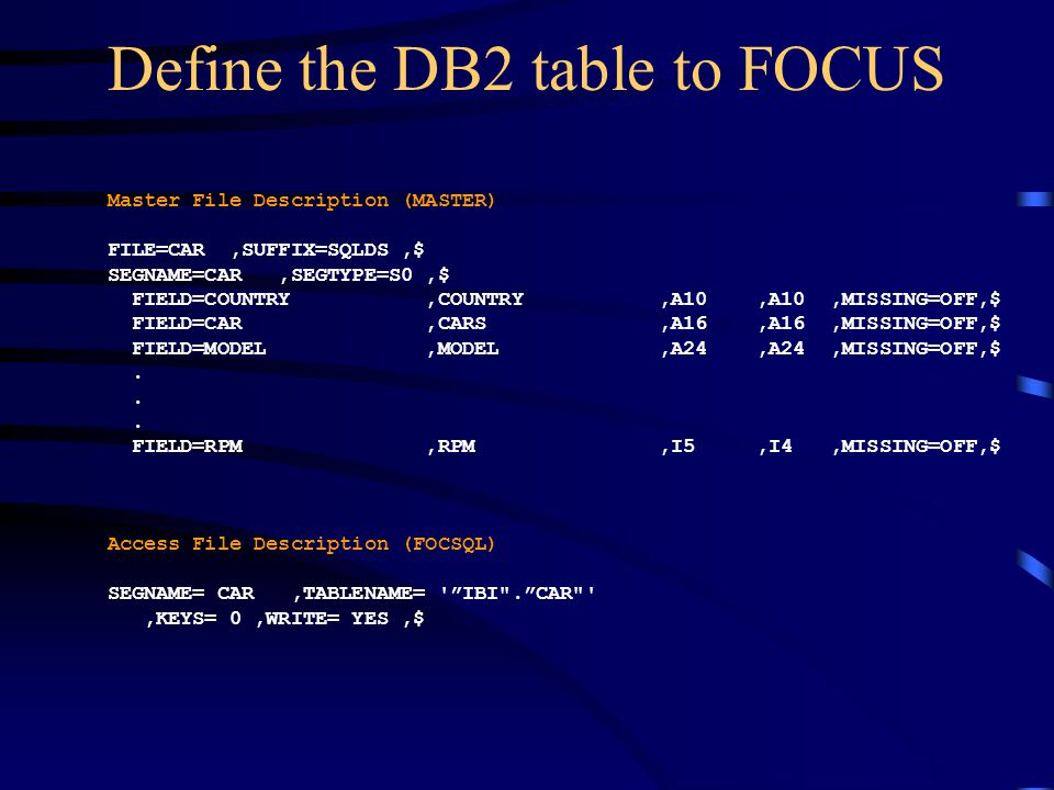 Define the DB2 table to FOCUS