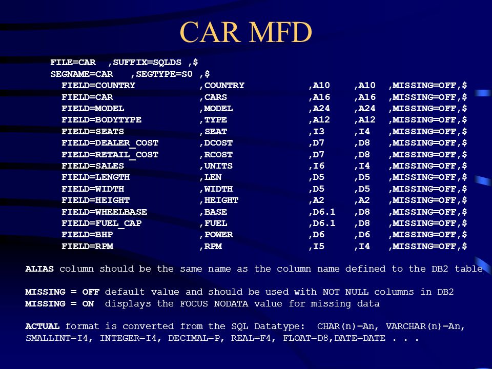 CAR MFD FILE=CAR ,SUFFIX=SQLDS ,$ SEGNAME=CAR ,SEGTYPE=S0 ,$