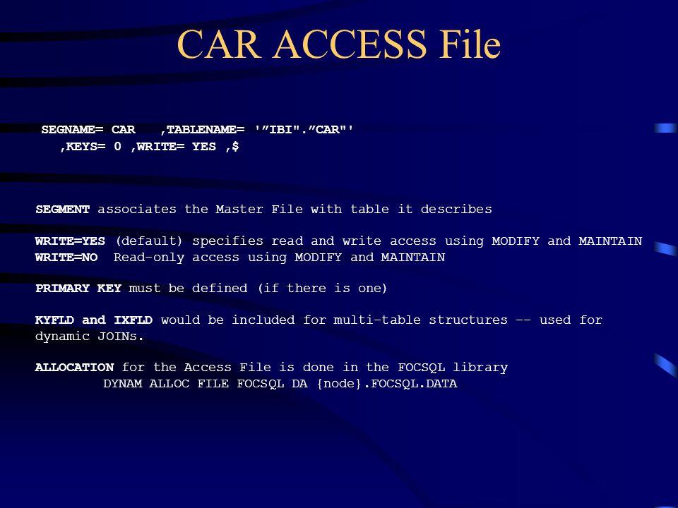 CAR ACCESS File SEGNAME= CAR ,TABLENAME= IBI . CAR