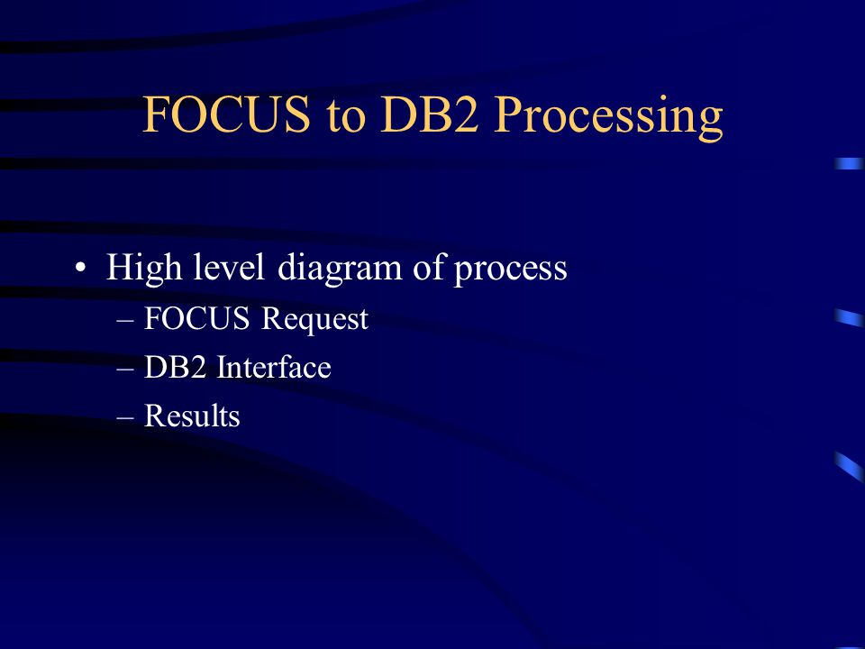 FOCUS to DB2 Processing High level diagram of process FOCUS Request