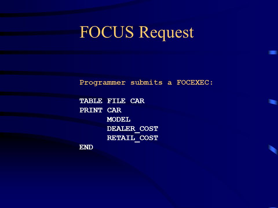 FOCUS Request Programmer submits a FOCEXEC: TABLE FILE CAR PRINT CAR