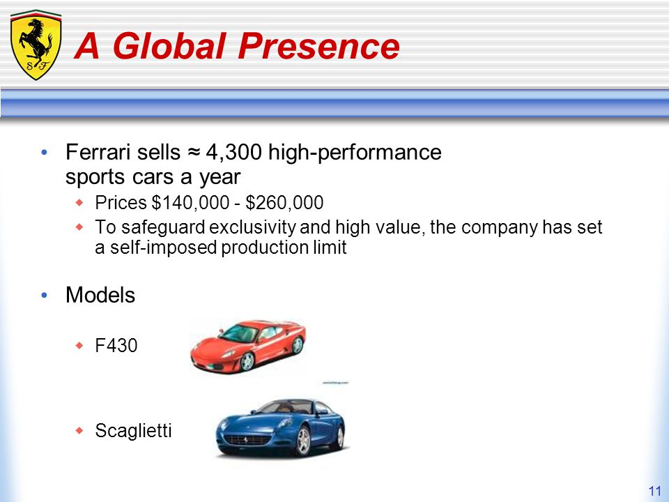 A Global Presence Ferrari sells ≈ 4,300 high-performance sports cars a year. Prices $140,000 - $260,000.
