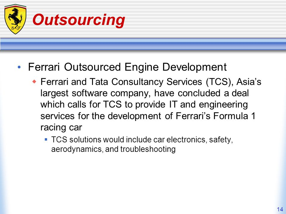 Outsourcing Ferrari Outsourced Engine Development