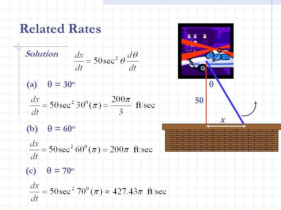 Related Rates Solution (a)  = 30o  50 x (b)  = 60o (c)  = 70o