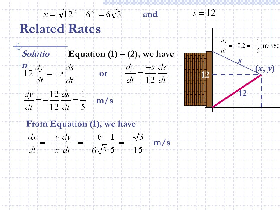 Related Rates and Solution Equation (1) – (2), we have s (x, y) or 12