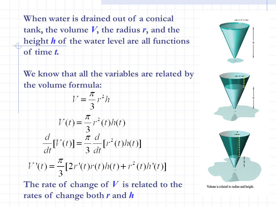 When water is drained out of a conical tank, the volume V, the radius r, and the height h of the water level are all functions of time t.