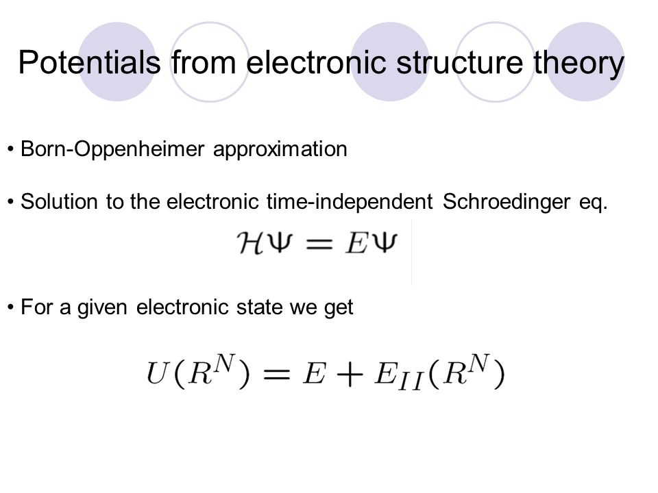 Potentials from electronic structure theory