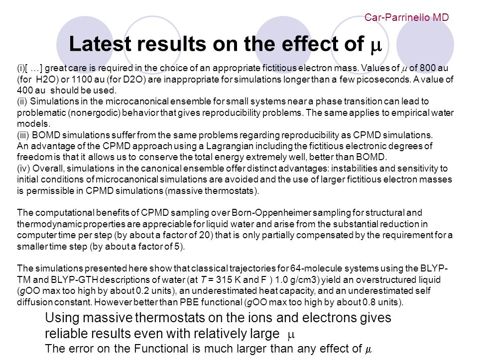 Latest results on the effect of m