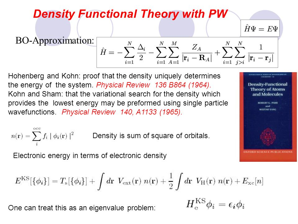Density Functional Theory with PW