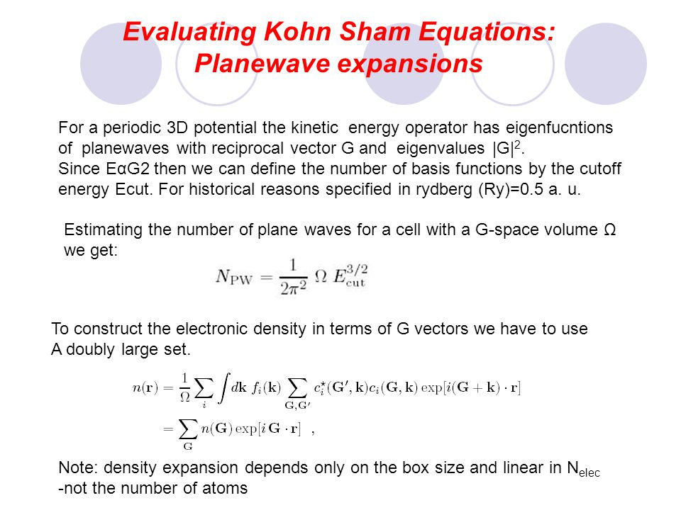 Evaluating Kohn Sham Equations: