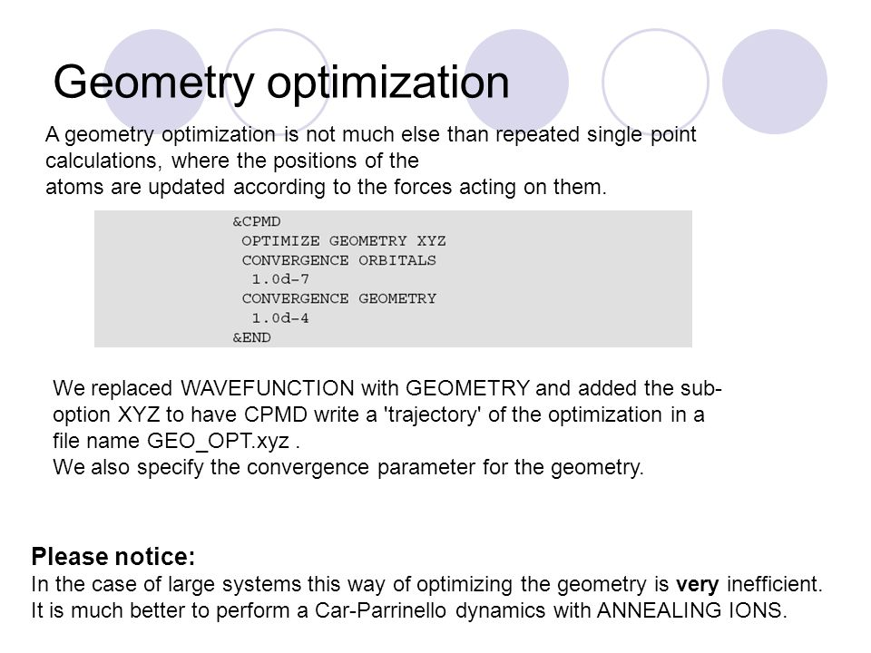 Geometry optimization