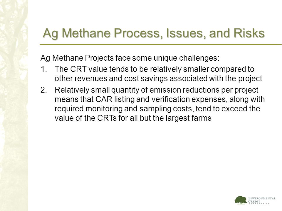 Ag Methane Process, Issues, and Risks