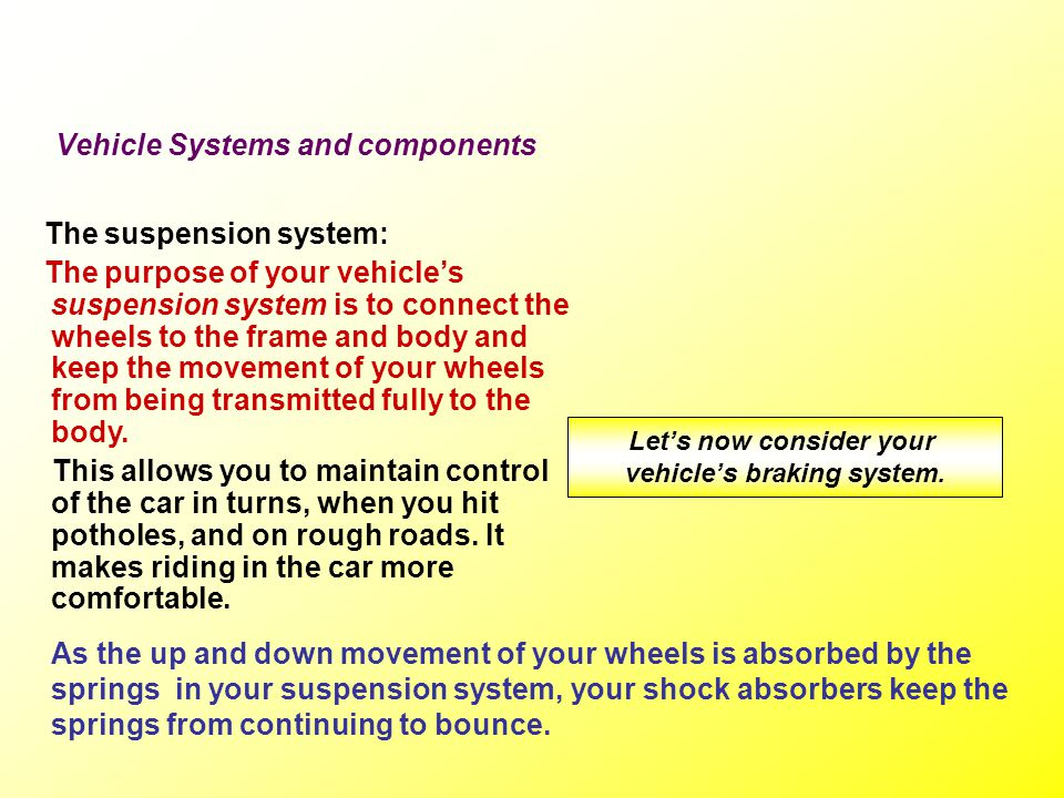 Let's now consider your vehicle's braking system.