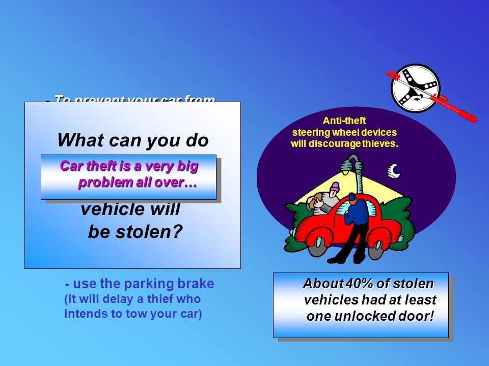 What can you do to reduce the chance that your vehicle will be stolen