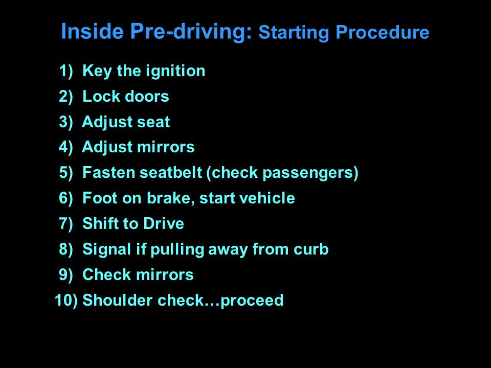 Inside Pre-driving: Starting Procedure