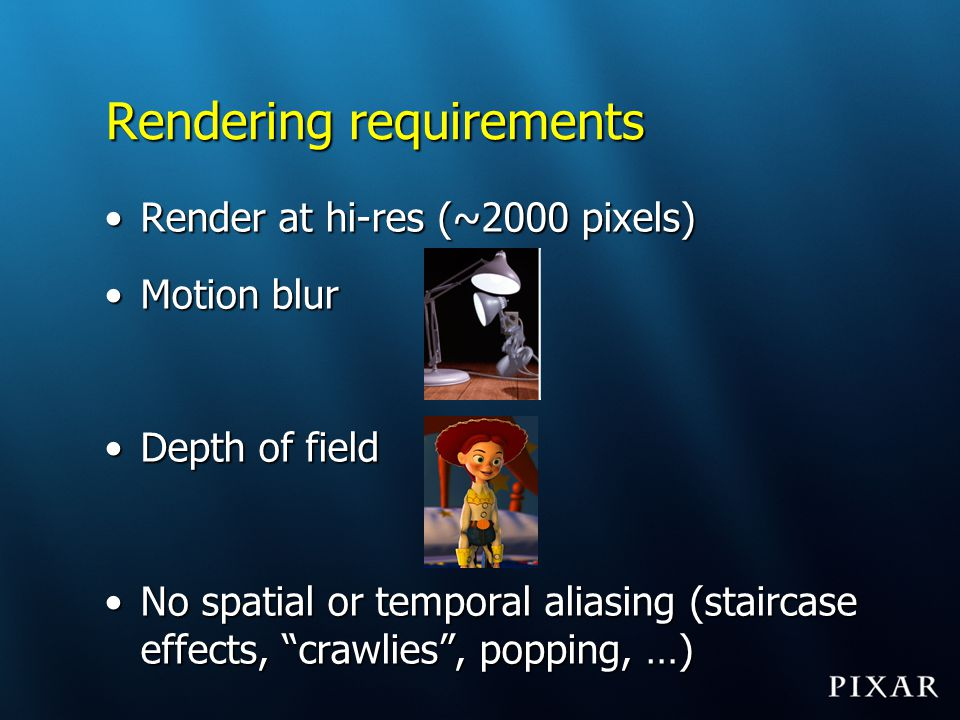Rendering requirements
