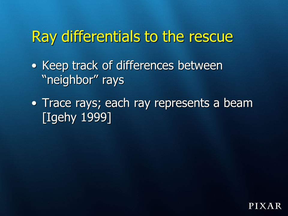 Ray differentials to the rescue