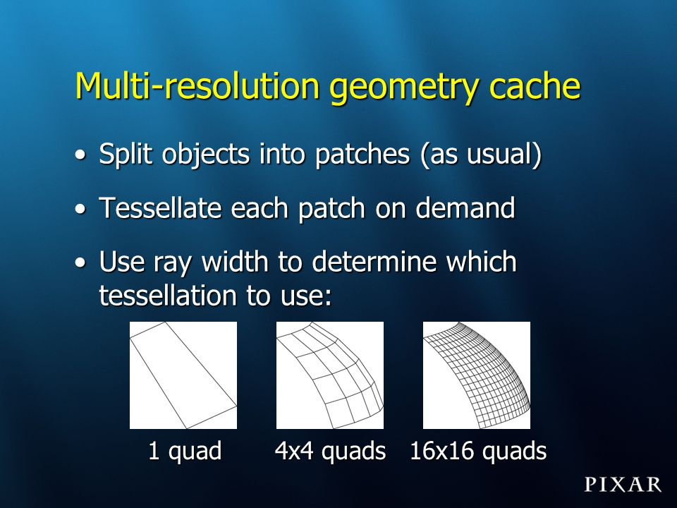 Multi-resolution geometry cache