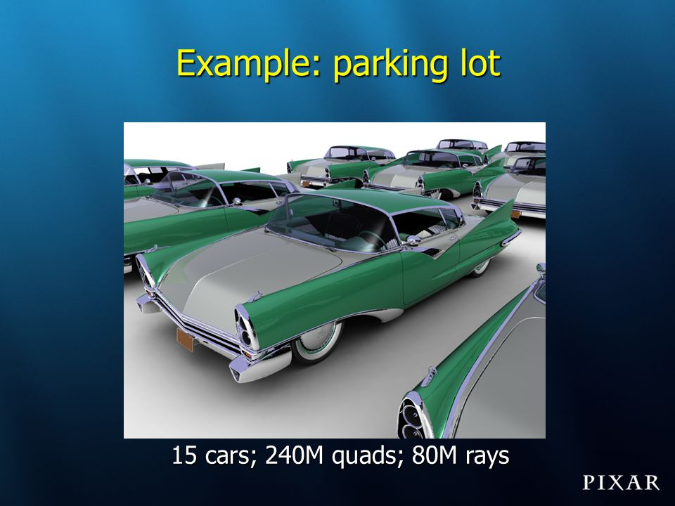Example: parking lot 15 cars; 240M quads; 80M rays