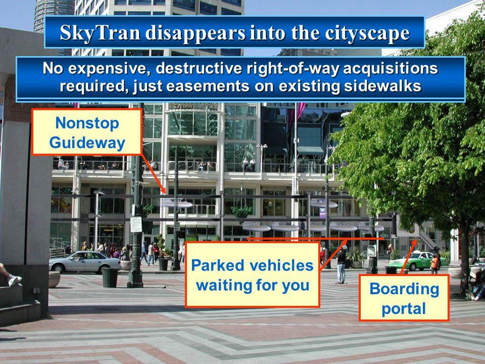 SkyTran disappears into the cityscape Parked vehicles waiting for you