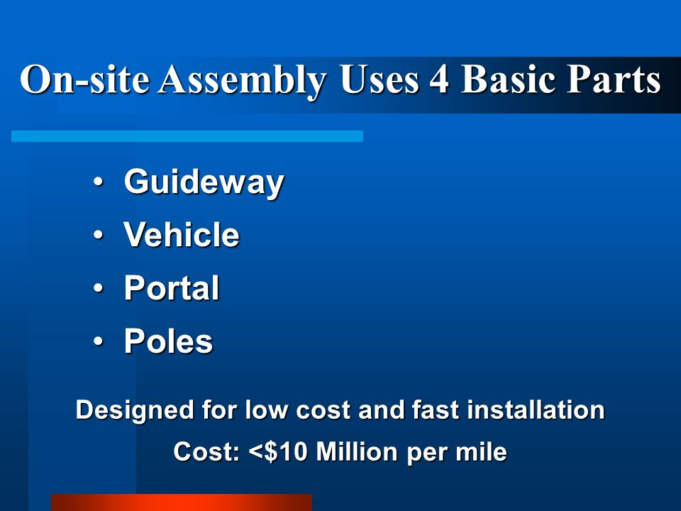 On-site Assembly Uses 4 Basic Parts