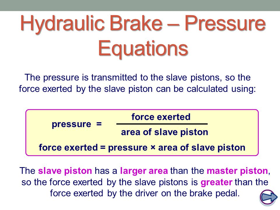 Hydraulic Brake – Pressure Equations