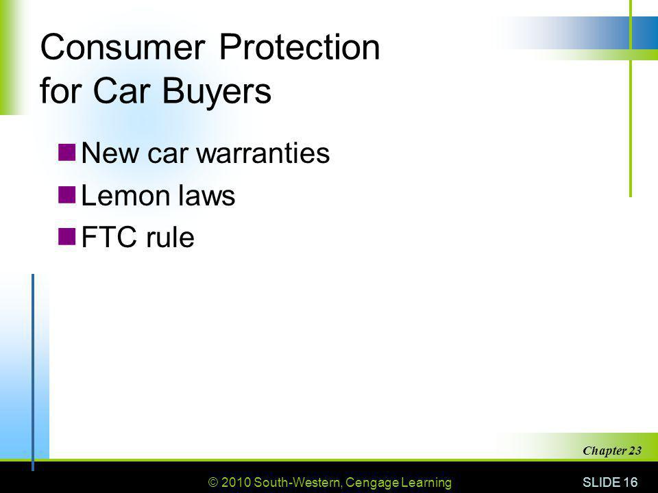 Consumer Protection for Car Buyers