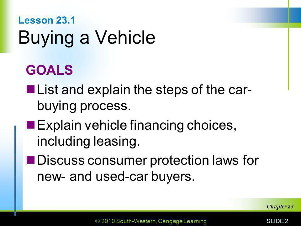 Lesson 23.1 Buying a Vehicle