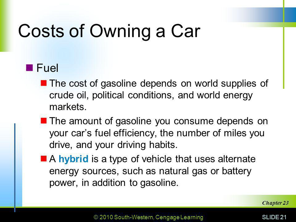 Costs of Owning a Car Fuel