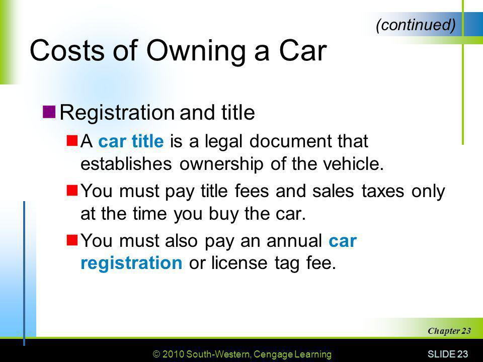 Costs of Owning a Car Registration and title