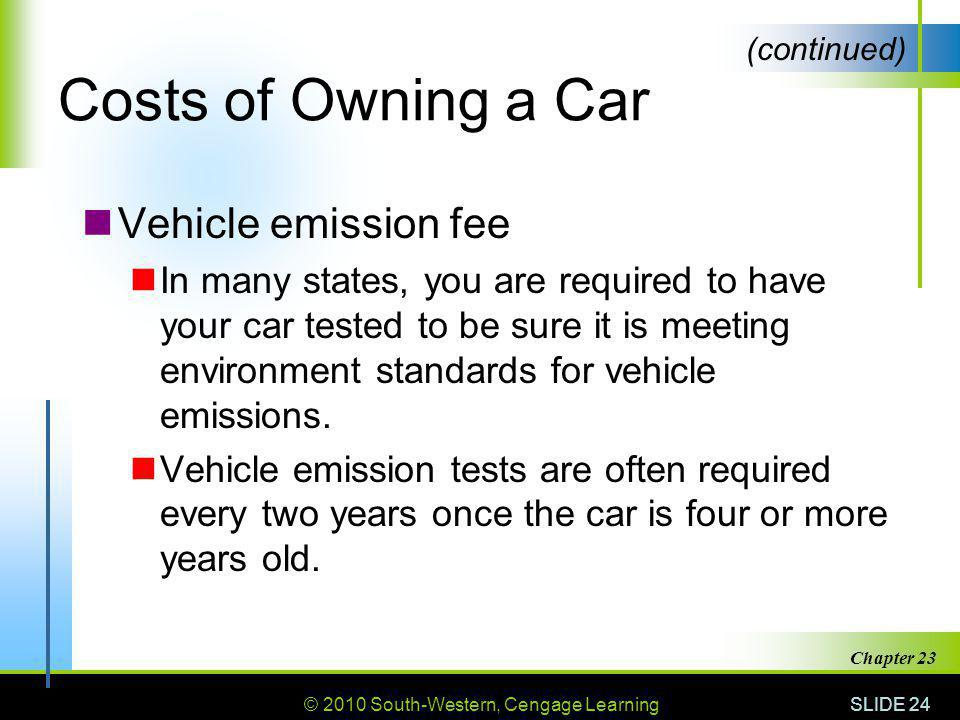 Costs of Owning a Car Vehicle emission fee
