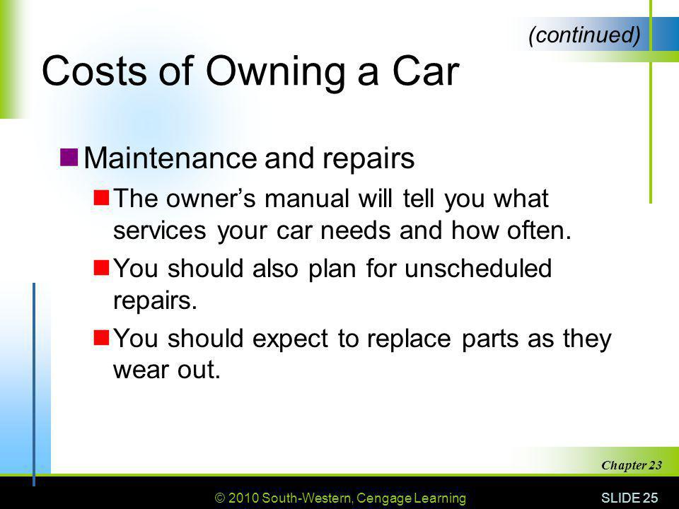 Costs of Owning a Car Maintenance and repairs