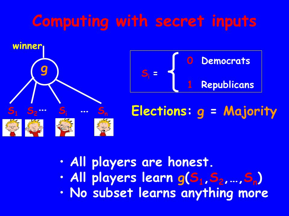Computing with secret inputs