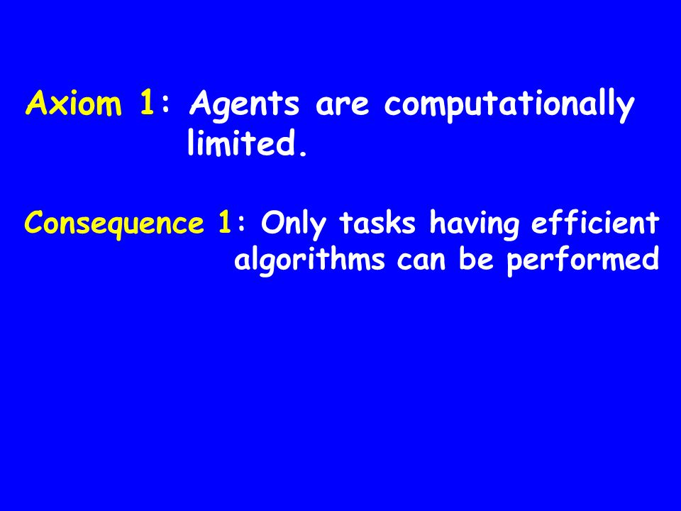Axiom 1: Agents are computationally limited.