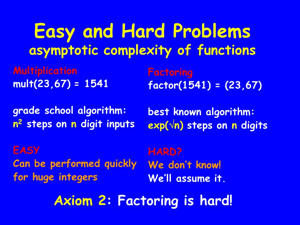 Easy and Hard Problems asymptotic complexity of functions