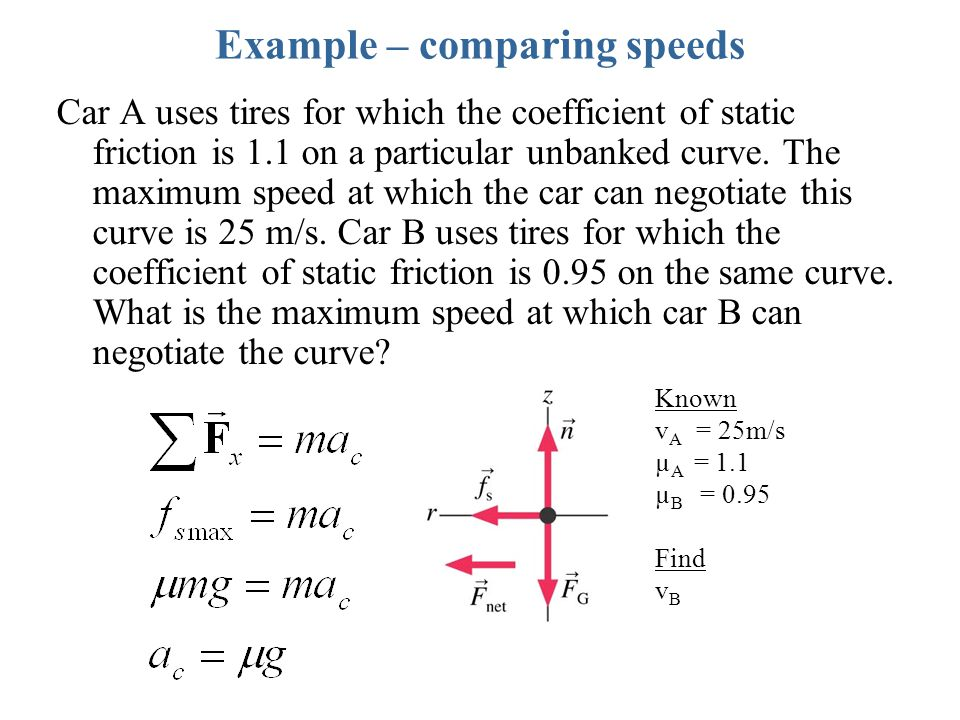 Example – comparing speeds