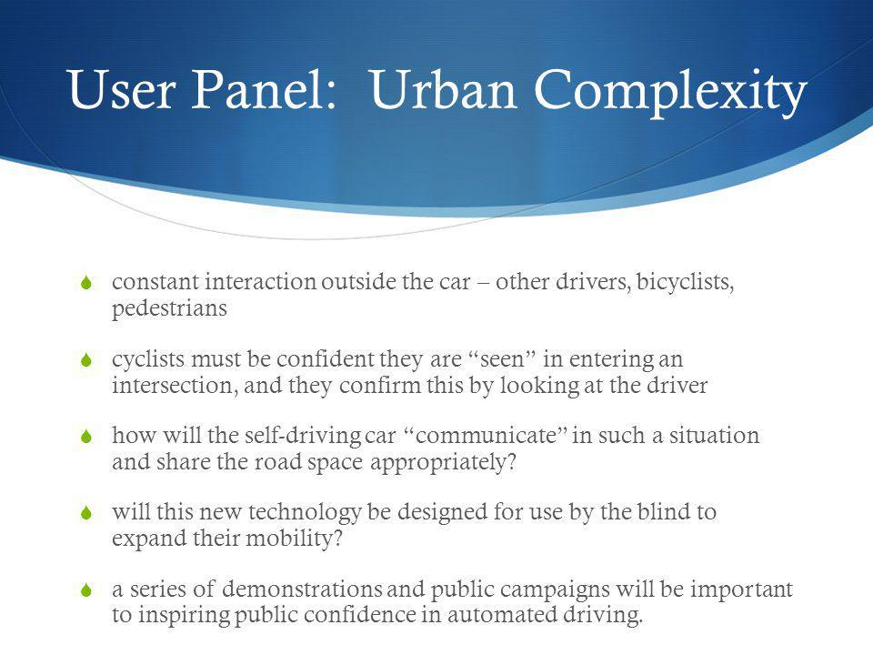 User Panel: Urban Complexity