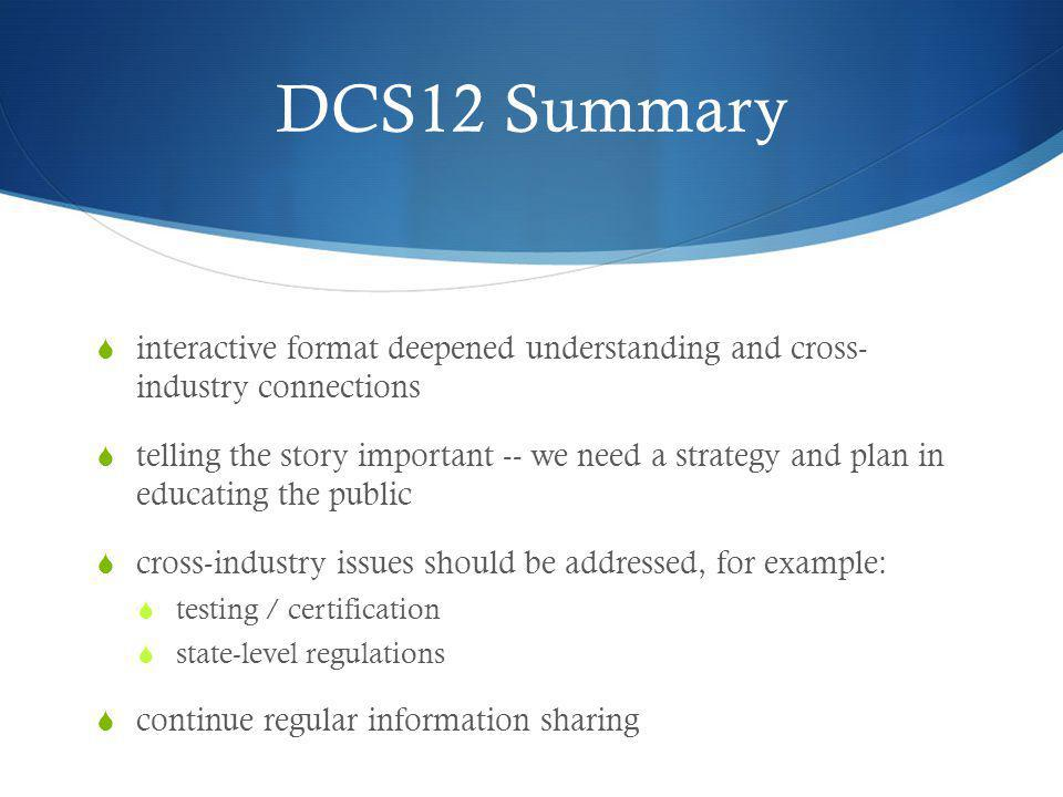 DCS12 Summary interactive format deepened understanding and cross- industry connections.