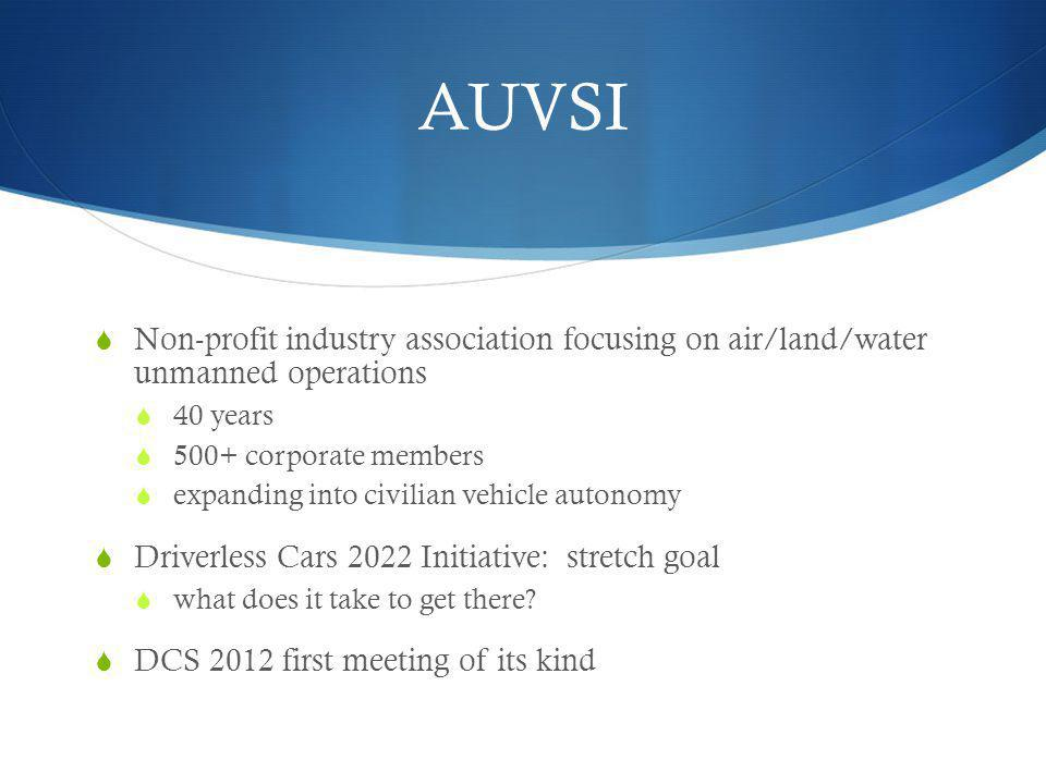 AUVSI Non-profit industry association focusing on air/land/water unmanned operations. 40 years. 500+ corporate members.