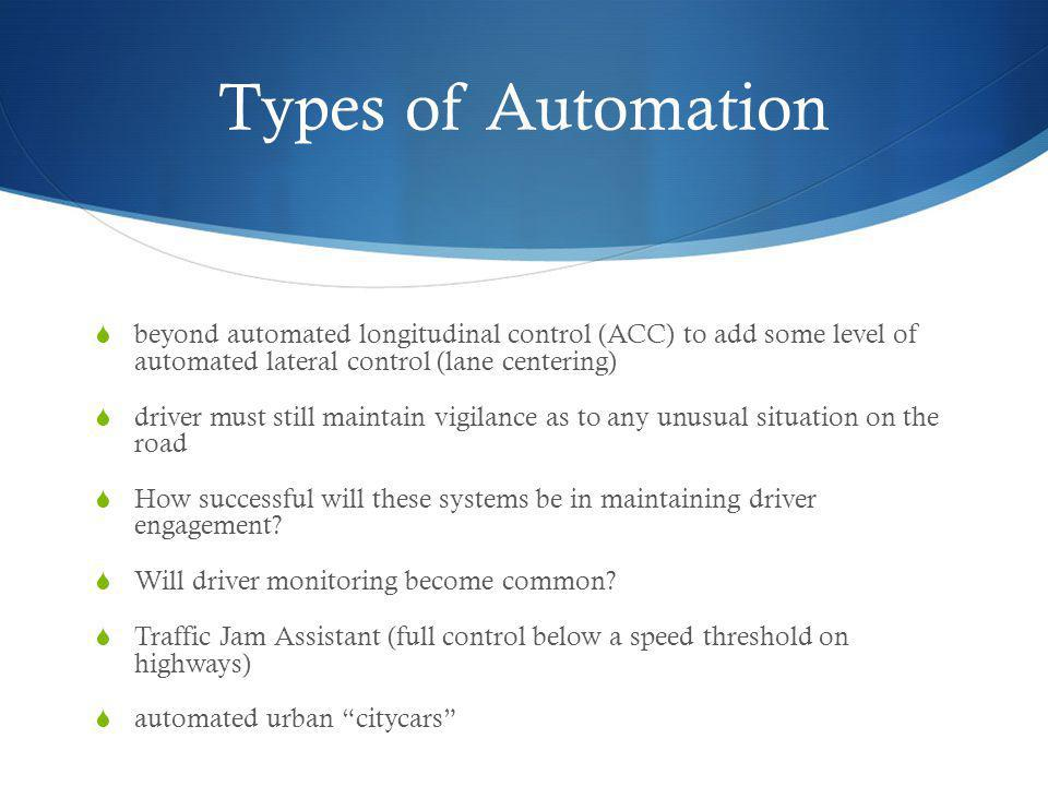 Types of Automation beyond automated longitudinal control (ACC) to add some level of automated lateral control (lane centering)