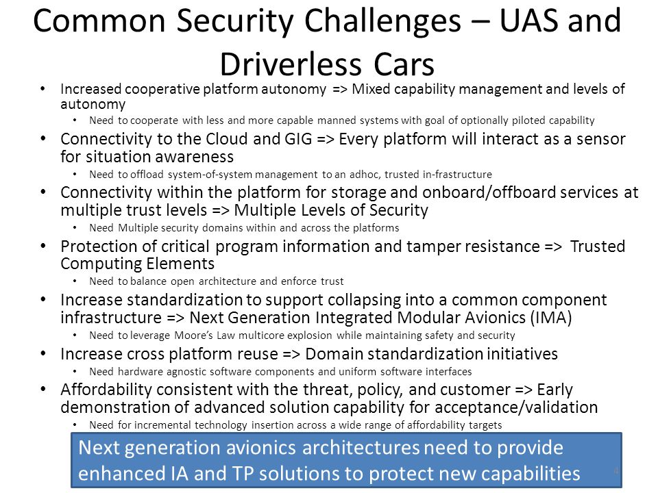 Common Security Challenges – UAS and Driverless Cars