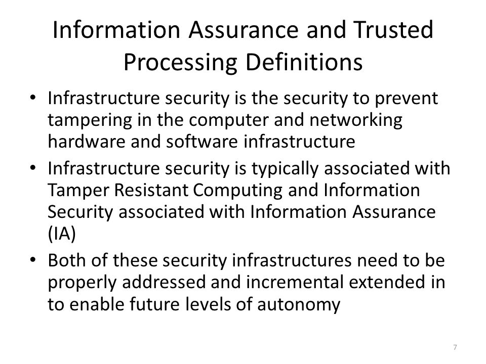 Information Assurance and Trusted Processing Definitions