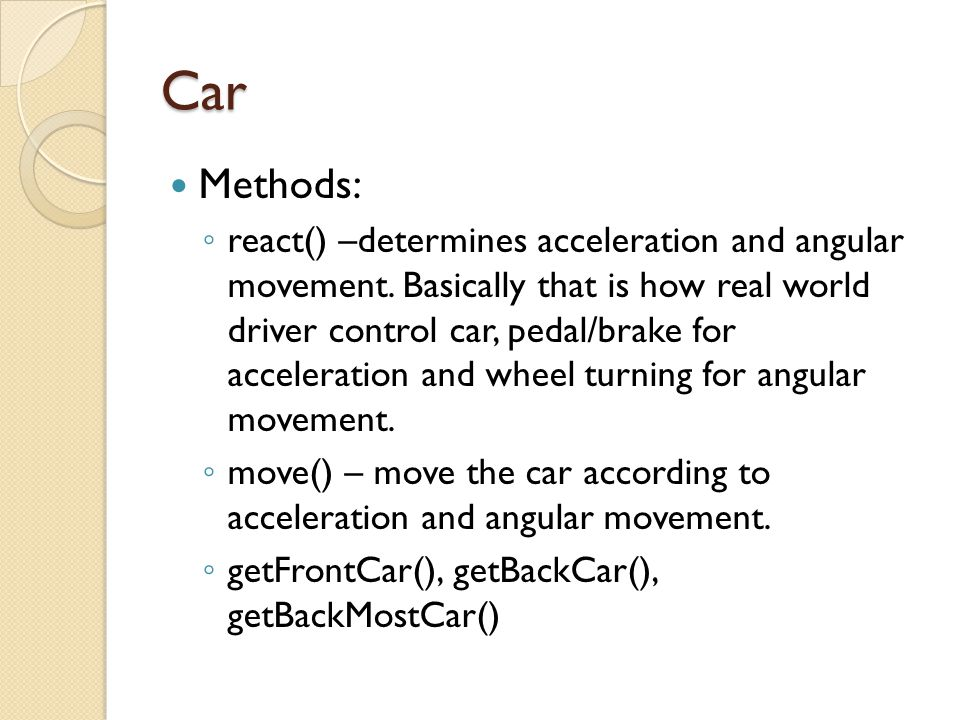 Car Methods: