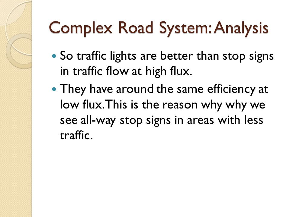Complex Road System: Analysis