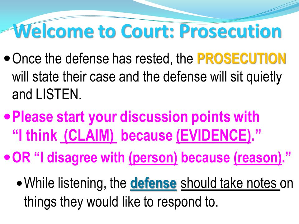 Welcome to Court: Prosecution