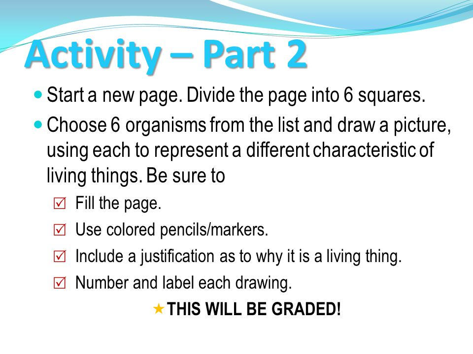 Activity – Part 2 Start a new page. Divide the page into 6 squares.