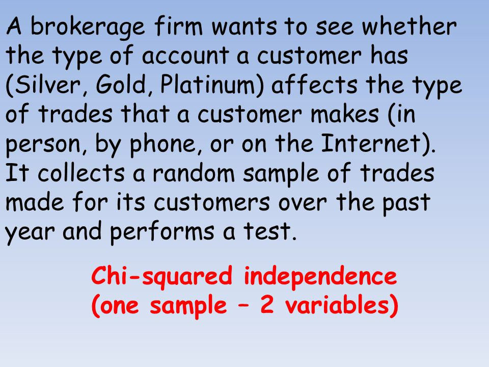 Chi-squared independence (one sample – 2 variables)