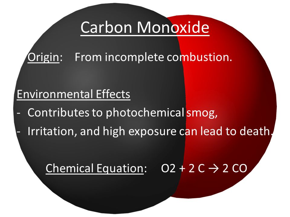 Carbon Monoxide Origin: From incomplete combustion.