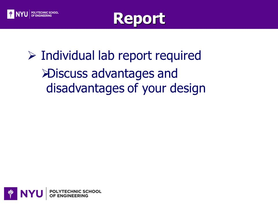 Report Individual lab report required